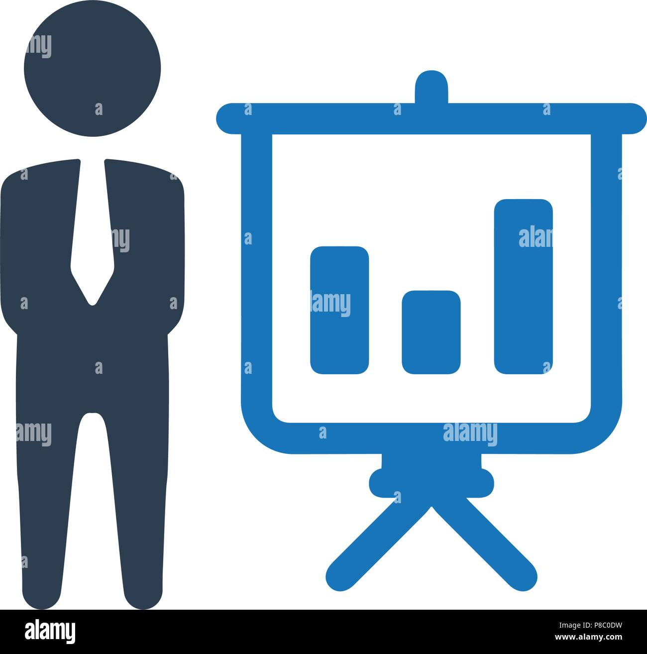 business graphical presentation icon stock vector art illustration