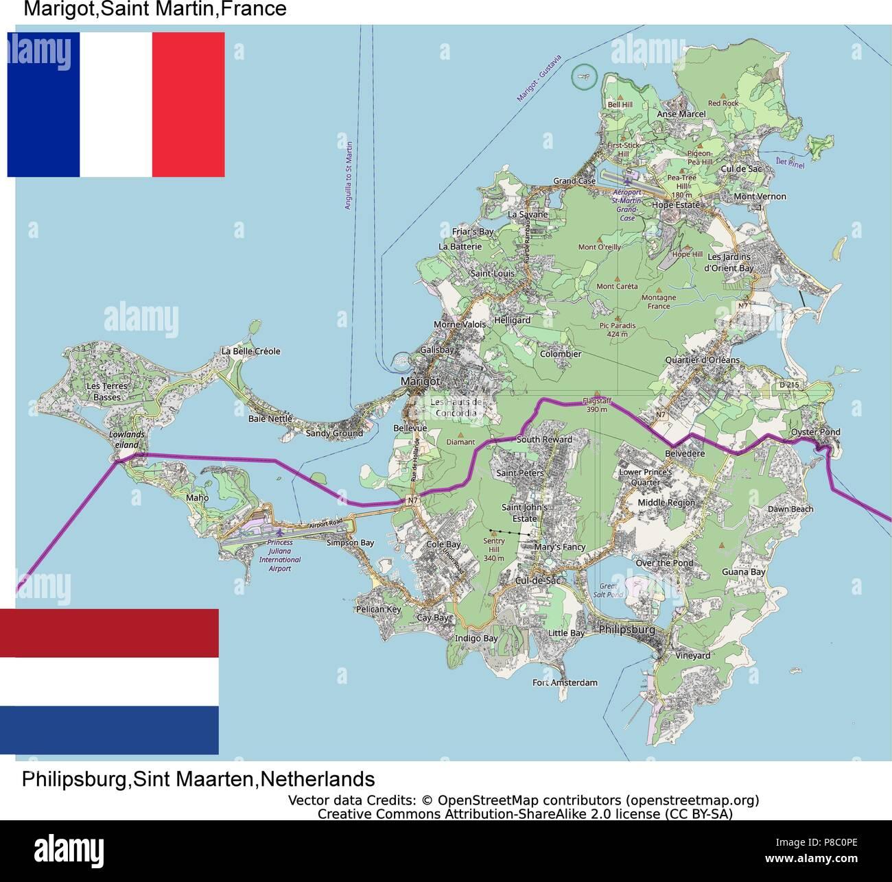 St Martin Sint Maarten Island France Netherlands - Stock Vector