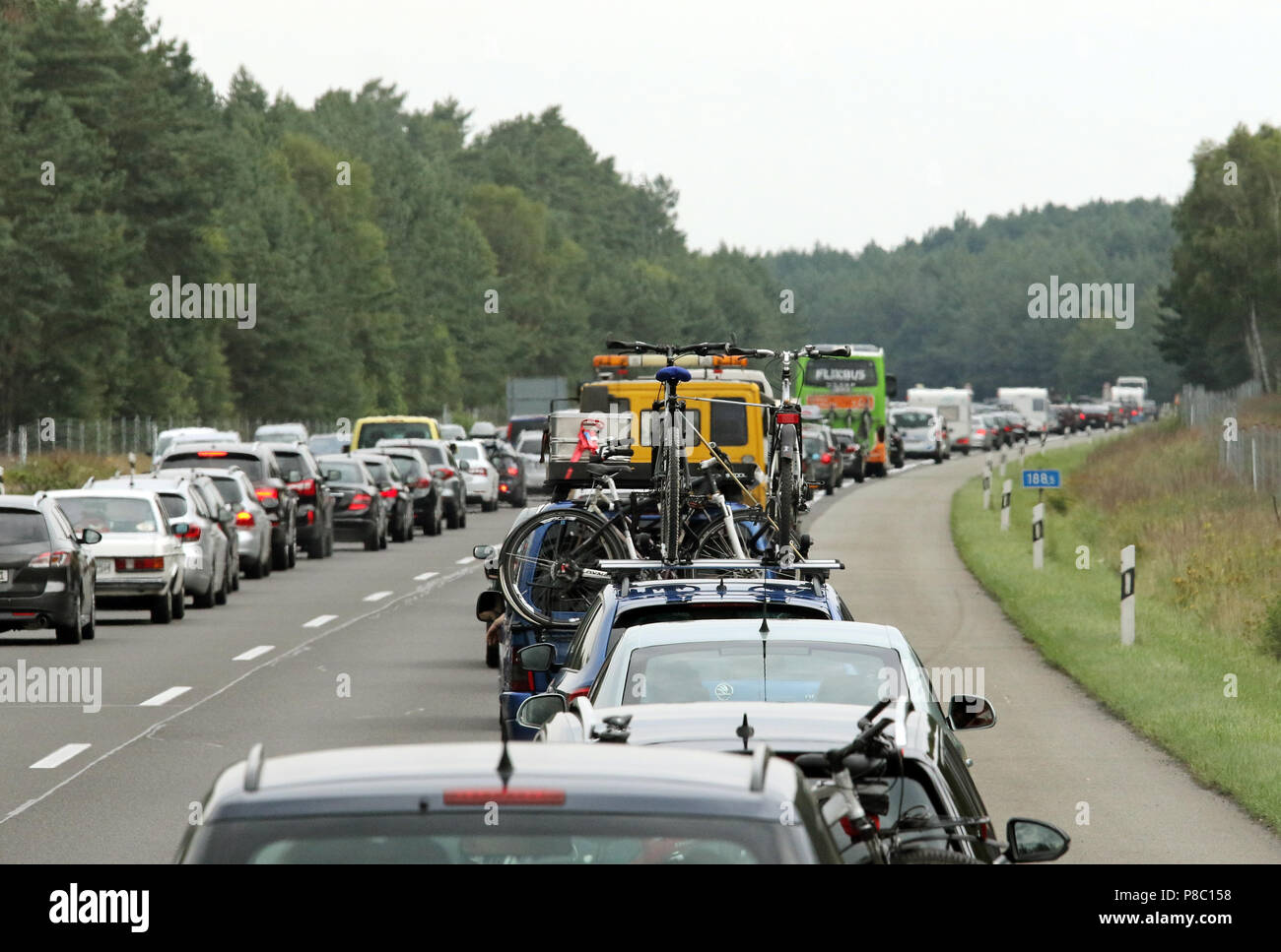 Neuruppin, Germany, traffic jam on the A24 heading north - Stock Image