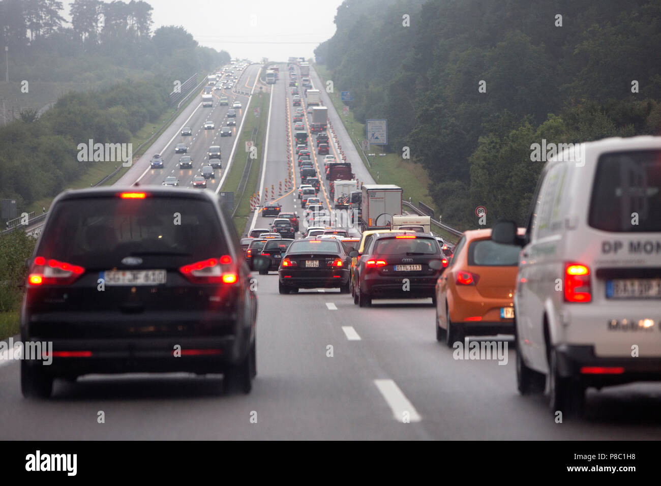 Bitterfeld-Wolfen, Germany, road constriction due to construction work on the A9 towards Berlin - Stock Image