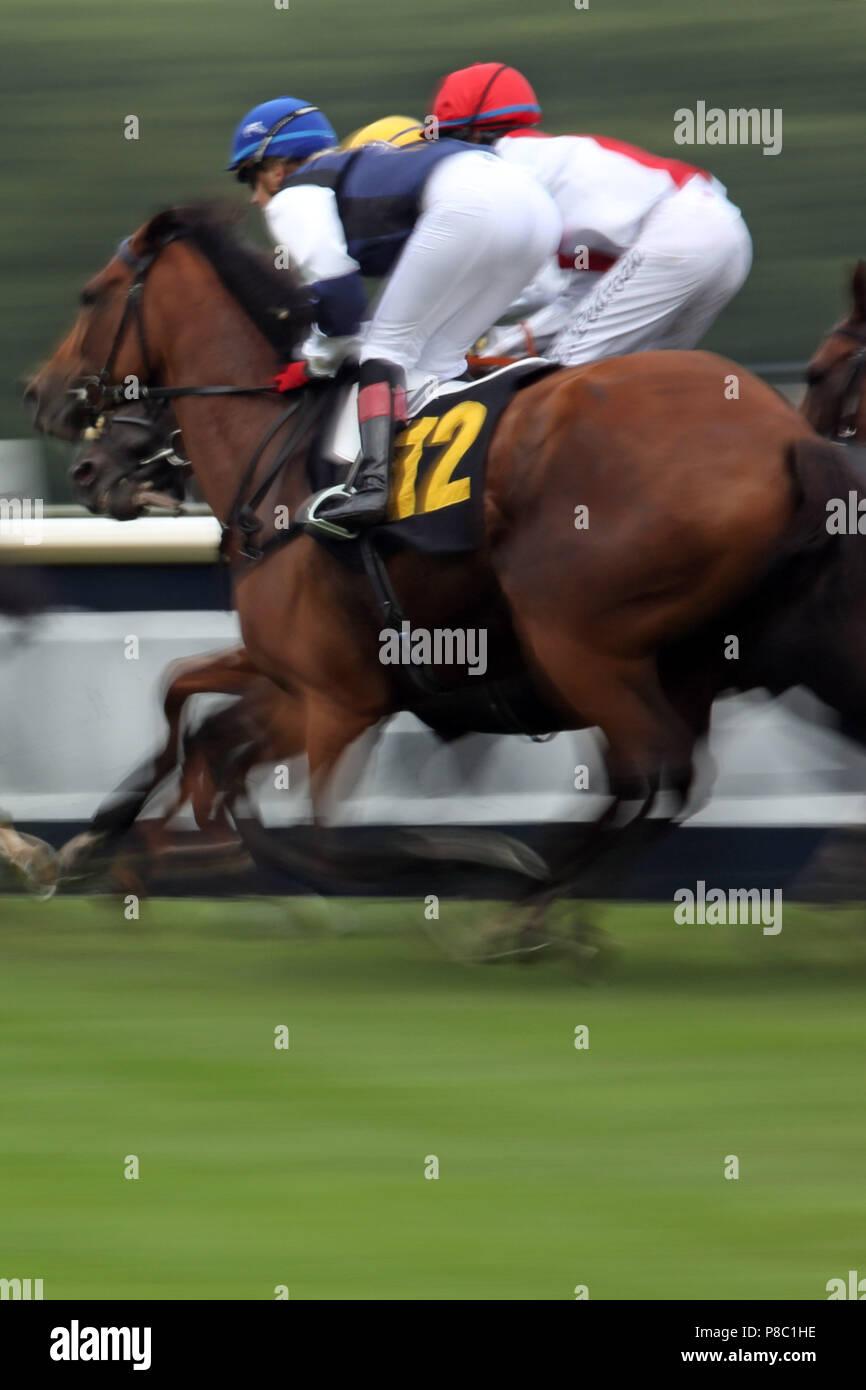 Hoppegarten, dynamics, horses and jockeys in the race - Stock Image