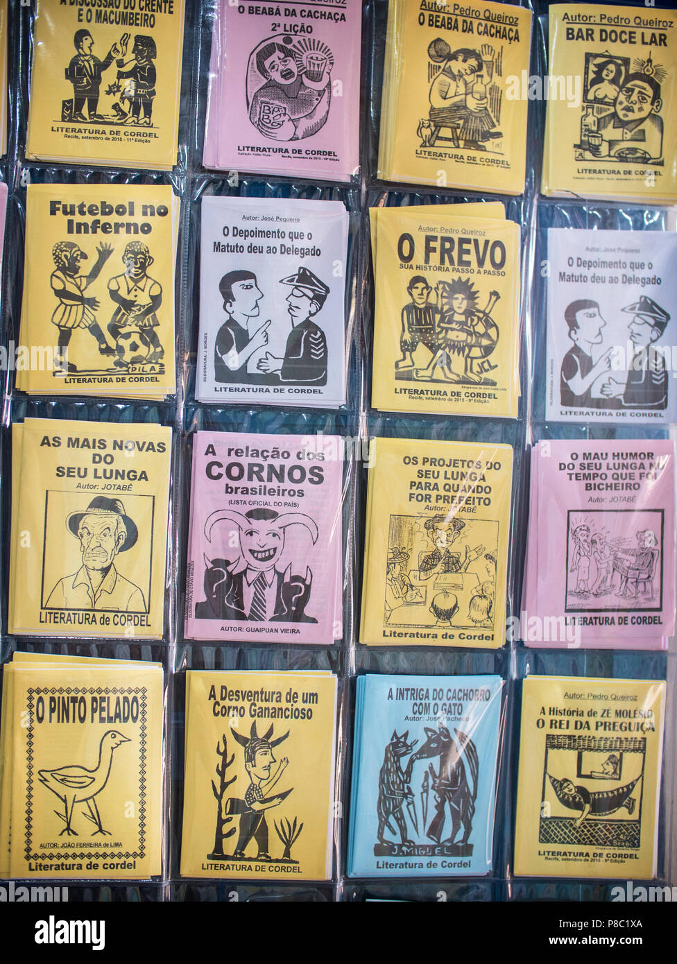 Brazilian poem booklets known as Literatura de Cordel from Pernambuco, Brazil. - Stock Image