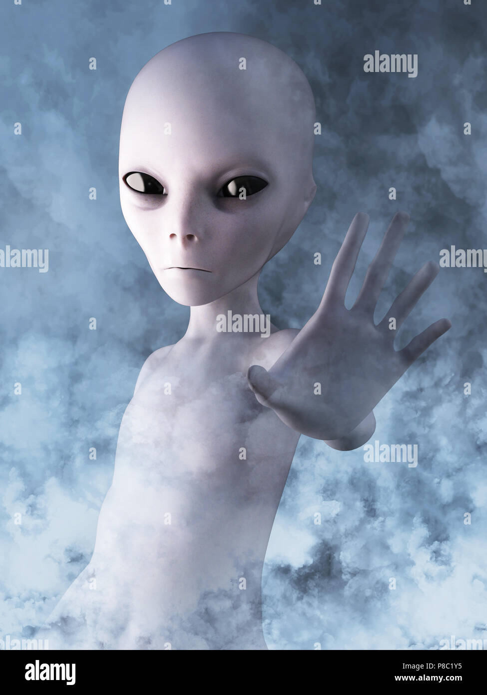 Alien reaching out its hand. He is surrounded by smoke or clouds like it's a dream, 3D rendering. - Stock Image