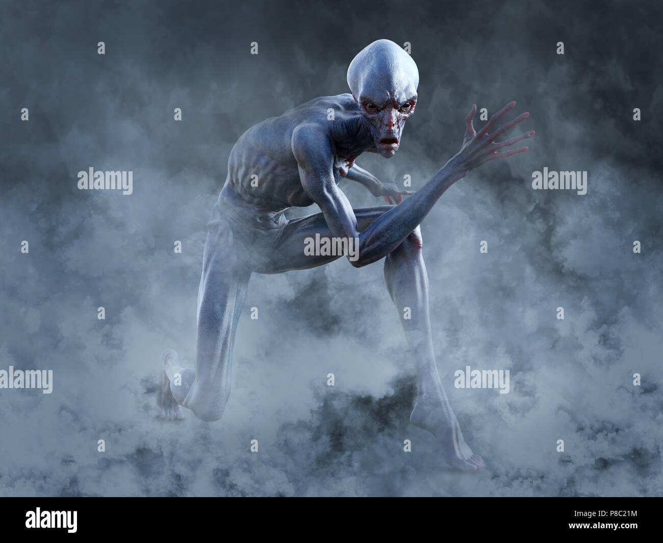 Portrait of an alien creature crouching and looking very angry, ready to attack, 3D rendering. He is surrounded by smoke or fog. - Stock Image