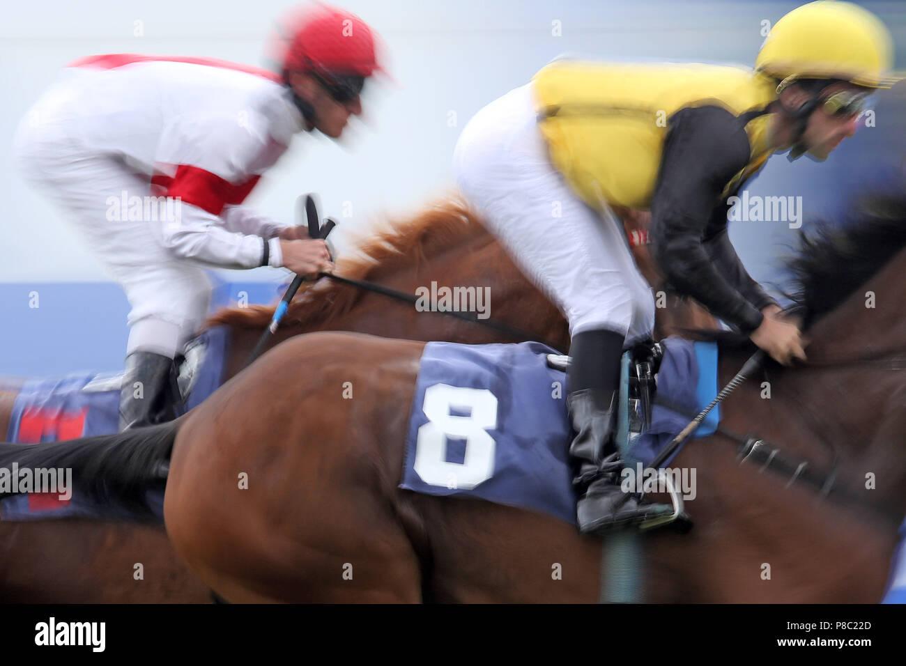 Iffezheim, dynamics, jockeys in the race - Stock Image