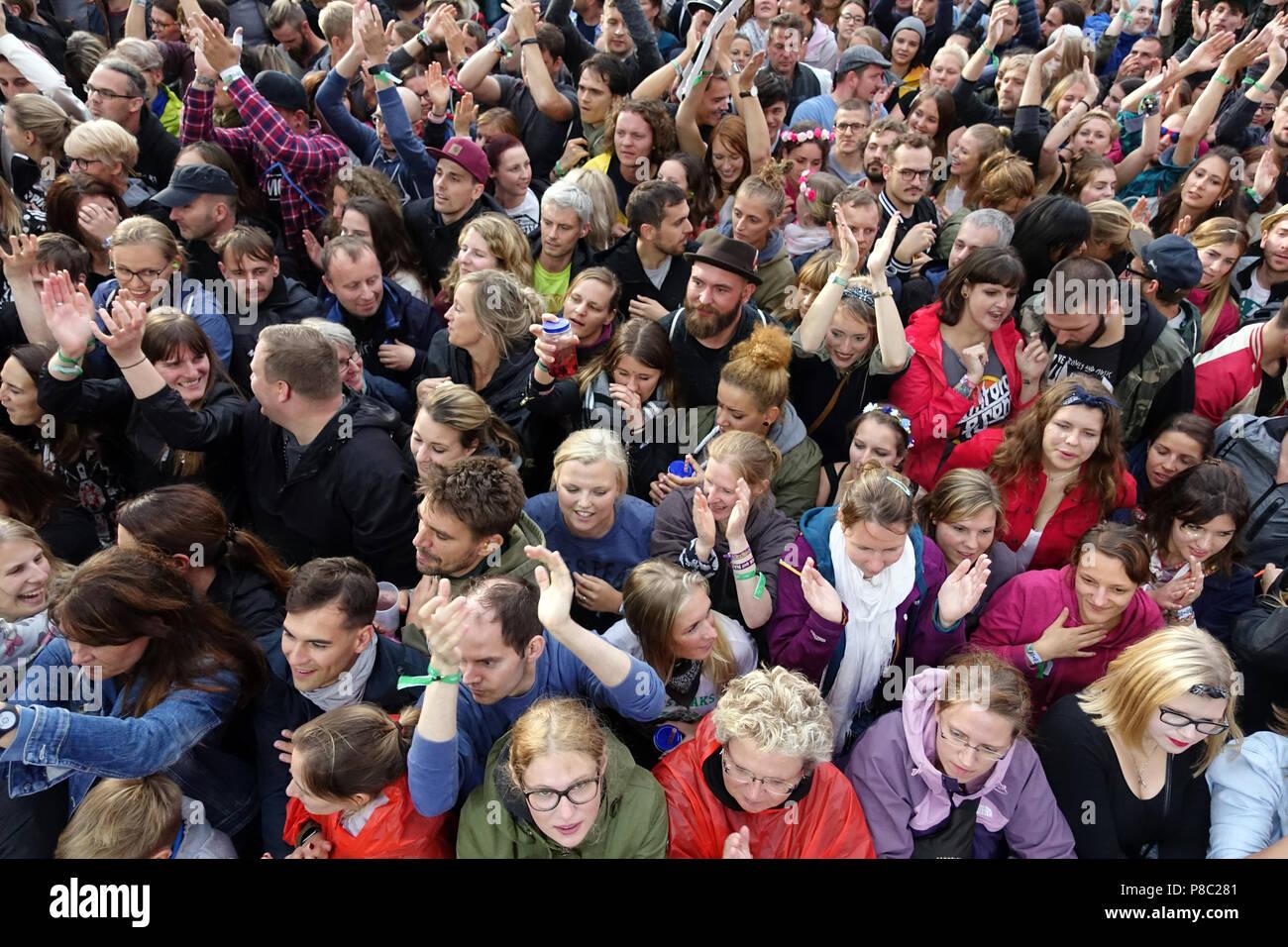 Hoppegarten, Germany, Crowd at Lollapalooza Berlin 2017 at the racecourse Hoppegarten - Stock Image