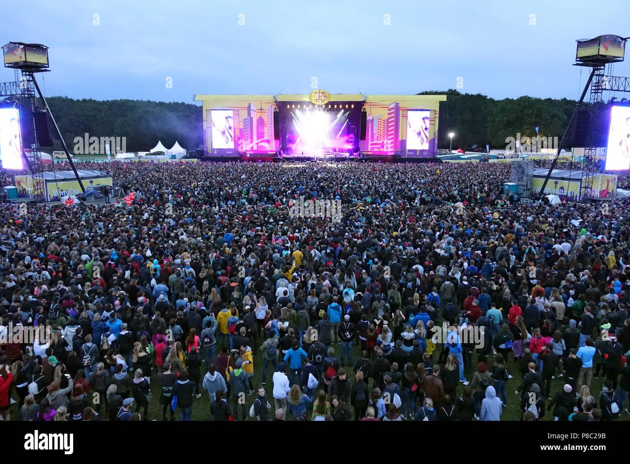 Hoppegarten, Germany, Crowd at Lollapalooza Berlin 2017 at the racecourse Hoppegarten Stock Photo