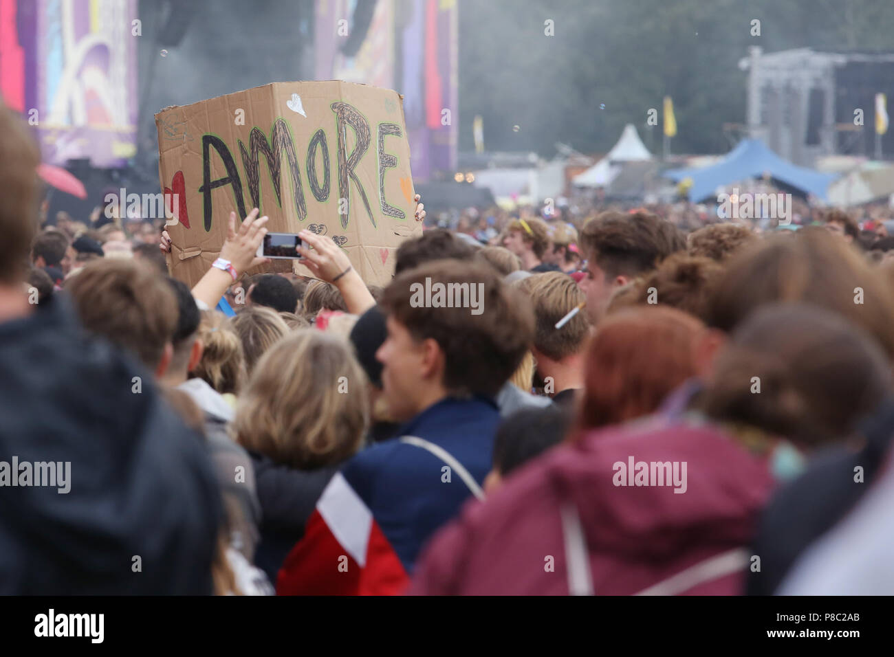 Hoppegarten, spectators at Lollapalooza Berlin 2017 at the racecourse Hoppegarten - Stock Image