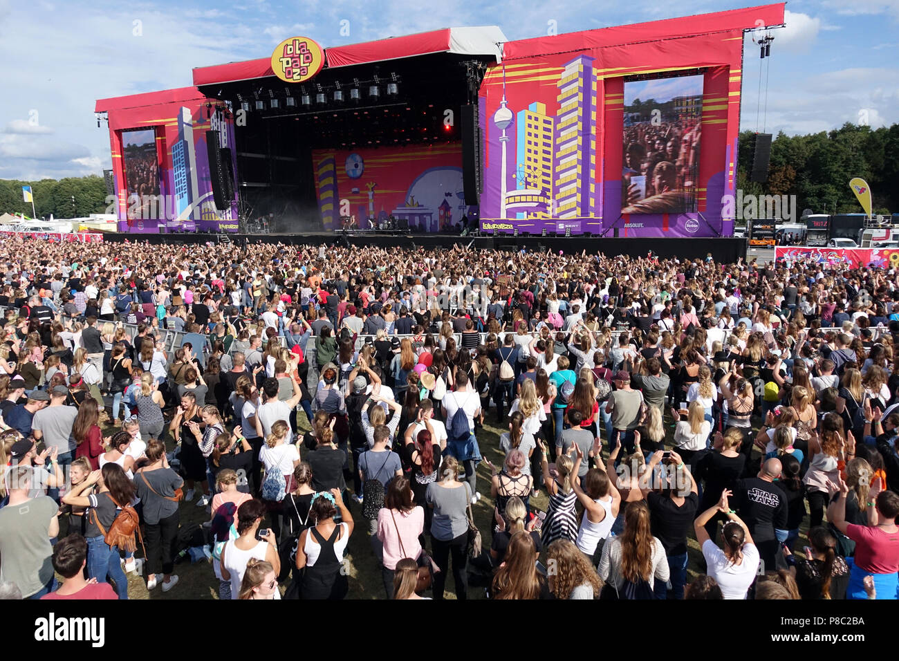 Hoppegarten, crowd at Lollapalooza Berlin 2017 at the racecourse Hoppegarten - Stock Image