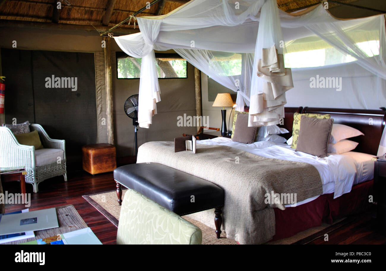Botswana: The luxury  Interior style of the Duma Tau Camp at Linyanti River in the Okavango Delta swamps - Stock Image