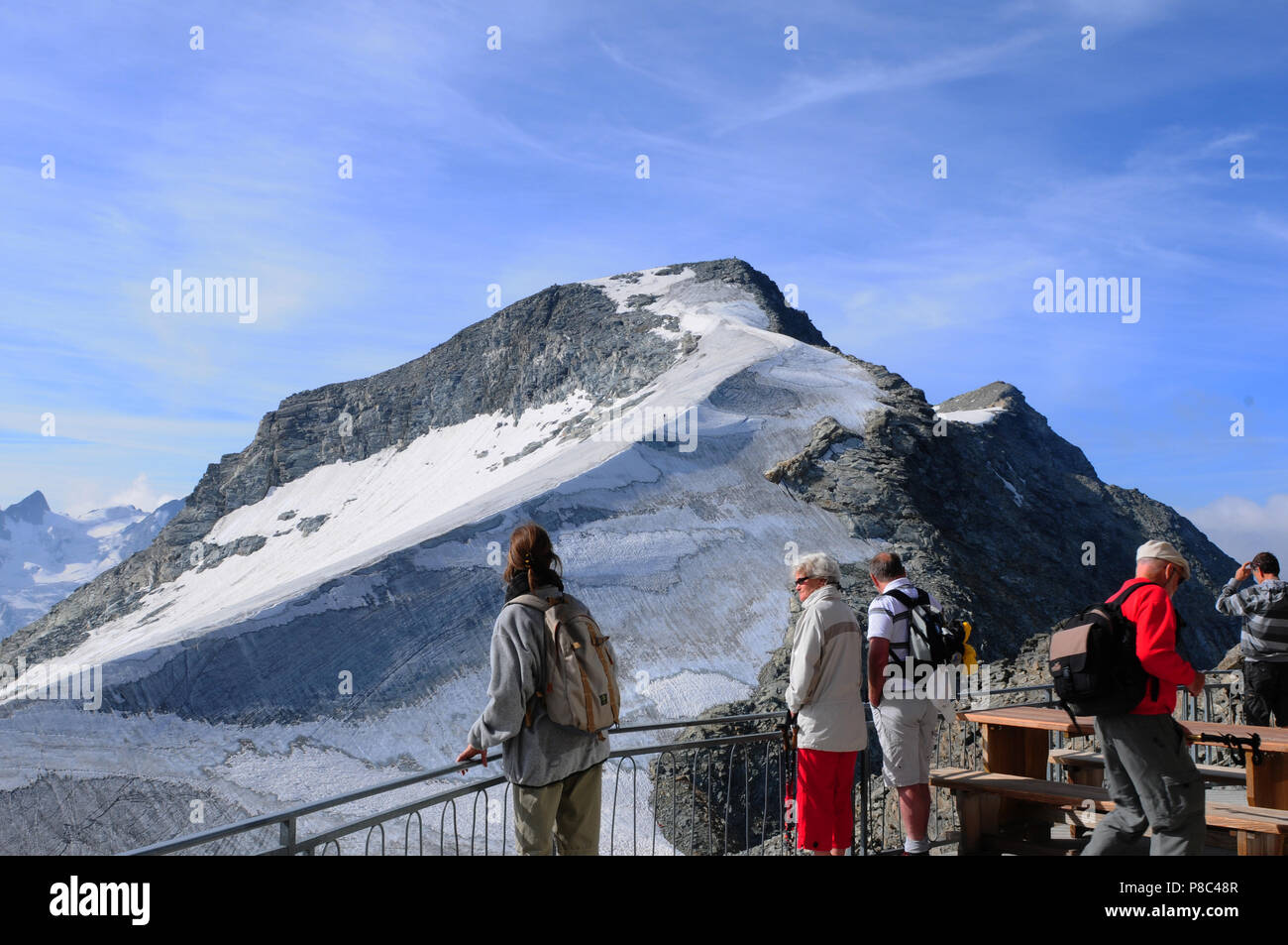 Swiss Alps: Due to the global clima change the glaciers are covered with blankets to protect the permafrost - Stock Image