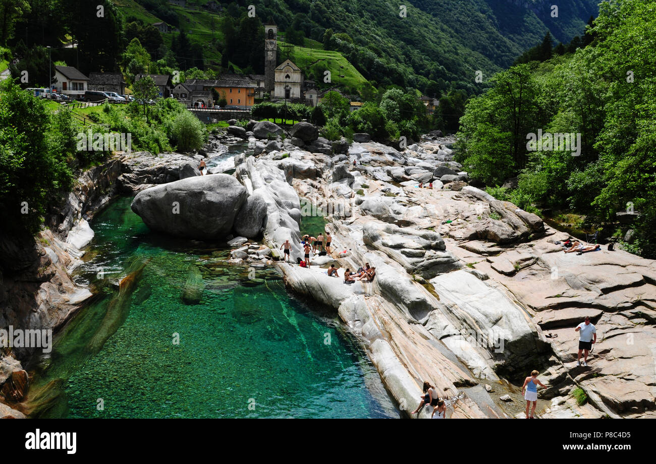 South-Switzerland: The spectacular river stone-formations at Lavertezzo in the canton Ticino - Stock Image