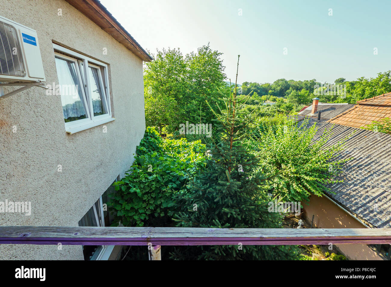 View from the balcony to the courtyard at the tall green trees and the nearest buildings of the building . For your design Stock Photo