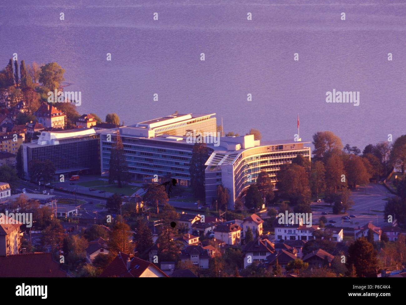 Switzerland: The headquarter of the Food Multi Nestlé in Vevey at Lake Geneva - Stock Image