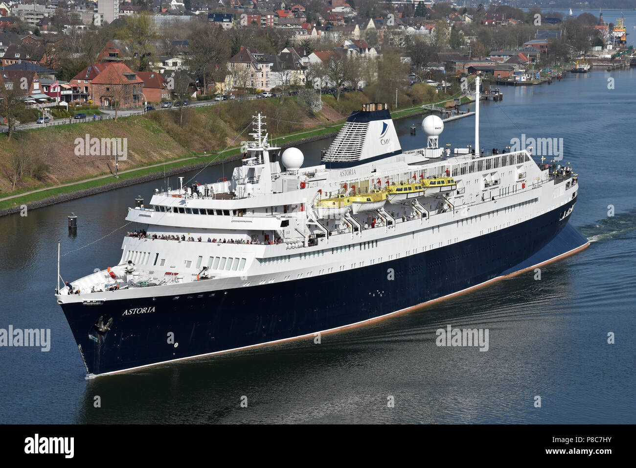 World's oldest still serving cruiseship Astoria in the Kiel canal Stock Photo