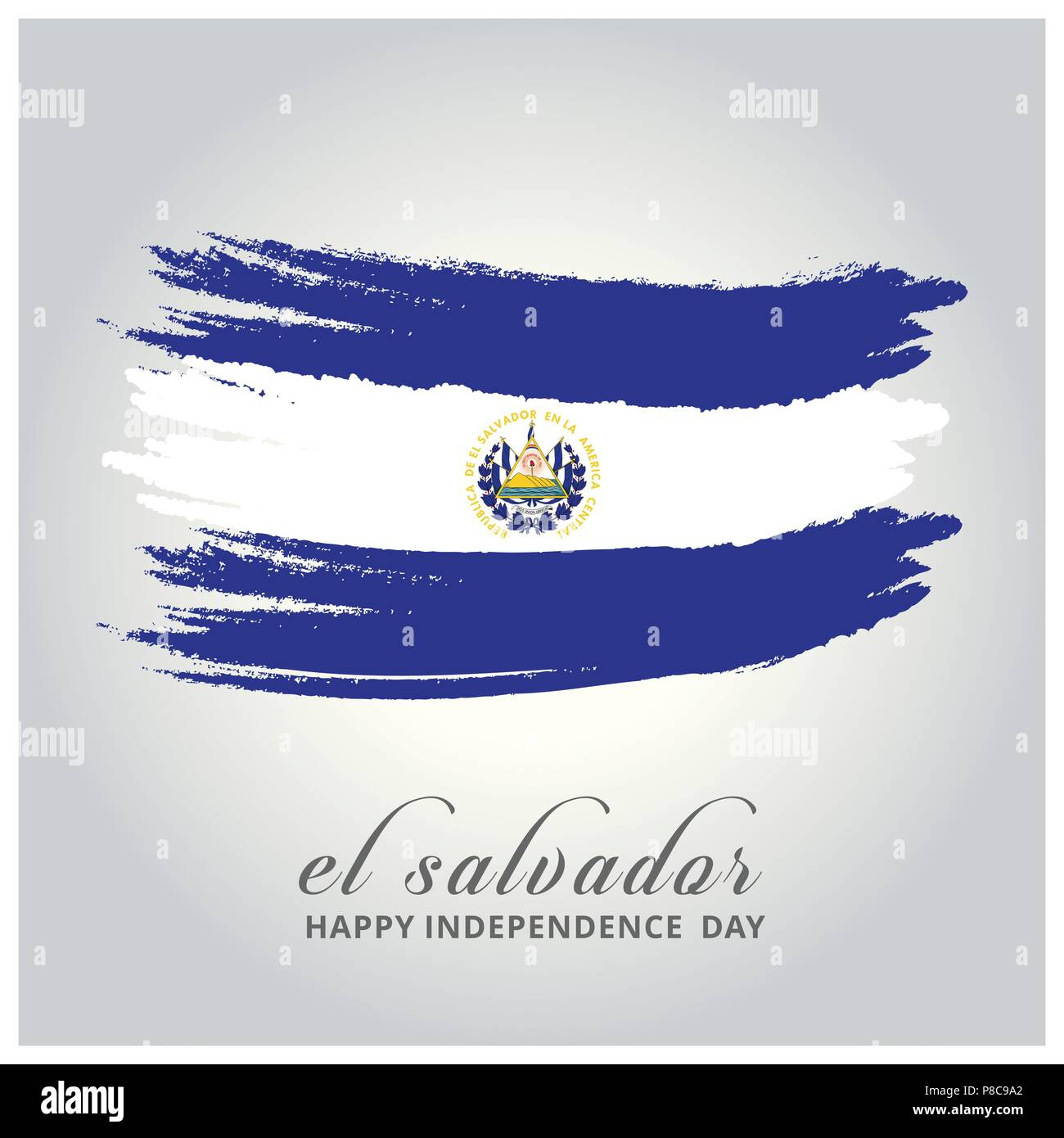 El Salvador Independence Day. Flag painted with a brush with paint. - For web design and application interface, also useful for infographics. Vector i - Stock Image