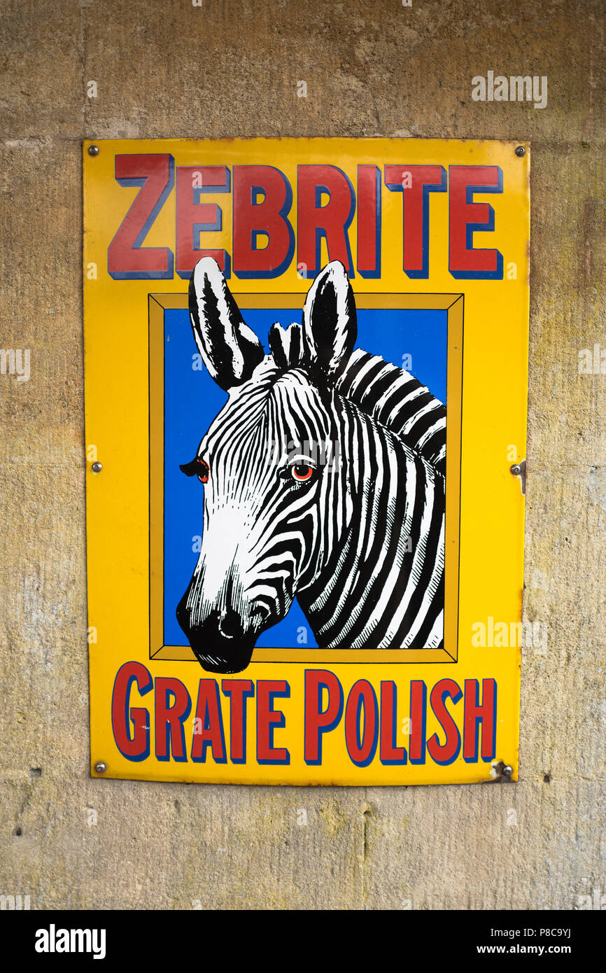 ZEBRITE advertisement for an old brand of grate polish used in Victorian and Edwardian times in UK - Stock Image