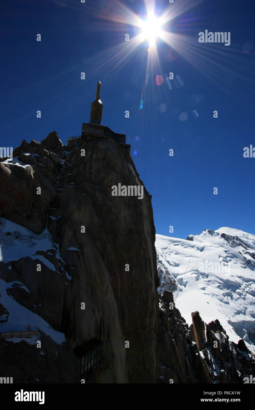 The observation complex on top of the Aiguille-du-Midi in the Mont Blanc massif in France Stock Photo