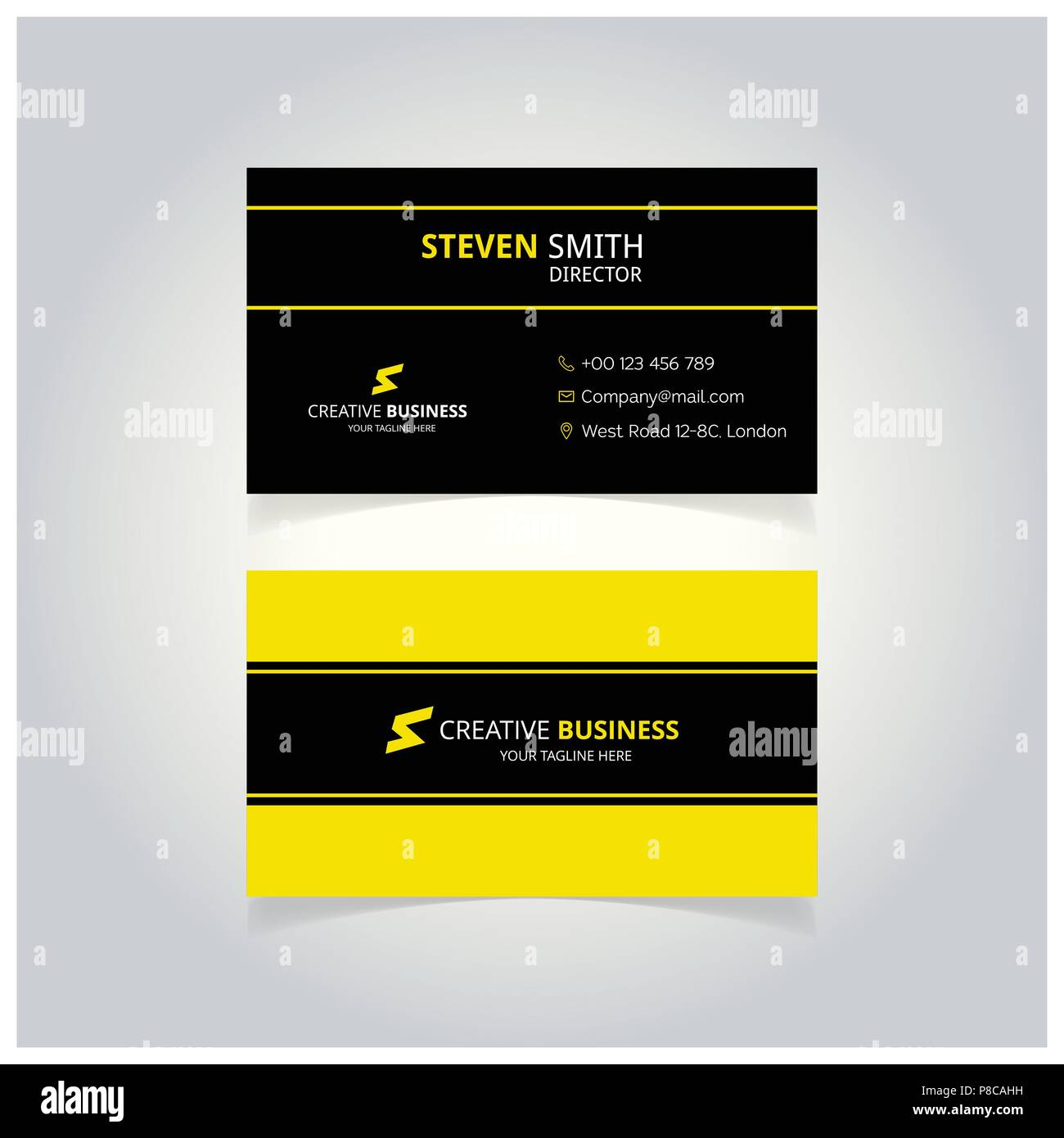 S Letter Man Logo Minimal Corporate Business Card With Black And