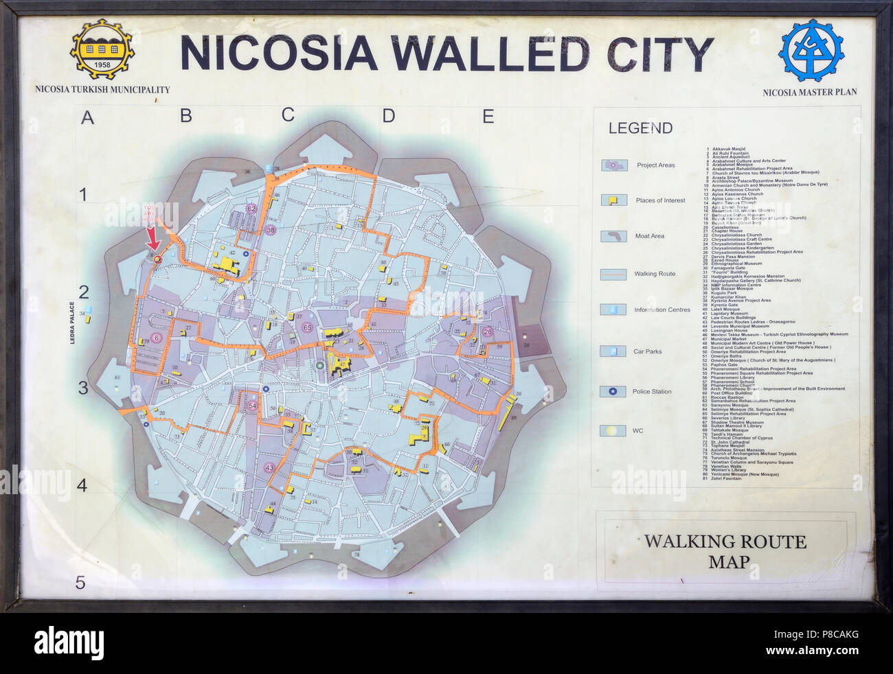 Nicosia cyprus map stock photos nicosia cyprus map stock images tourist map of the old walled city of nicosia located in north nicosia lefkosa gumiabroncs Images
