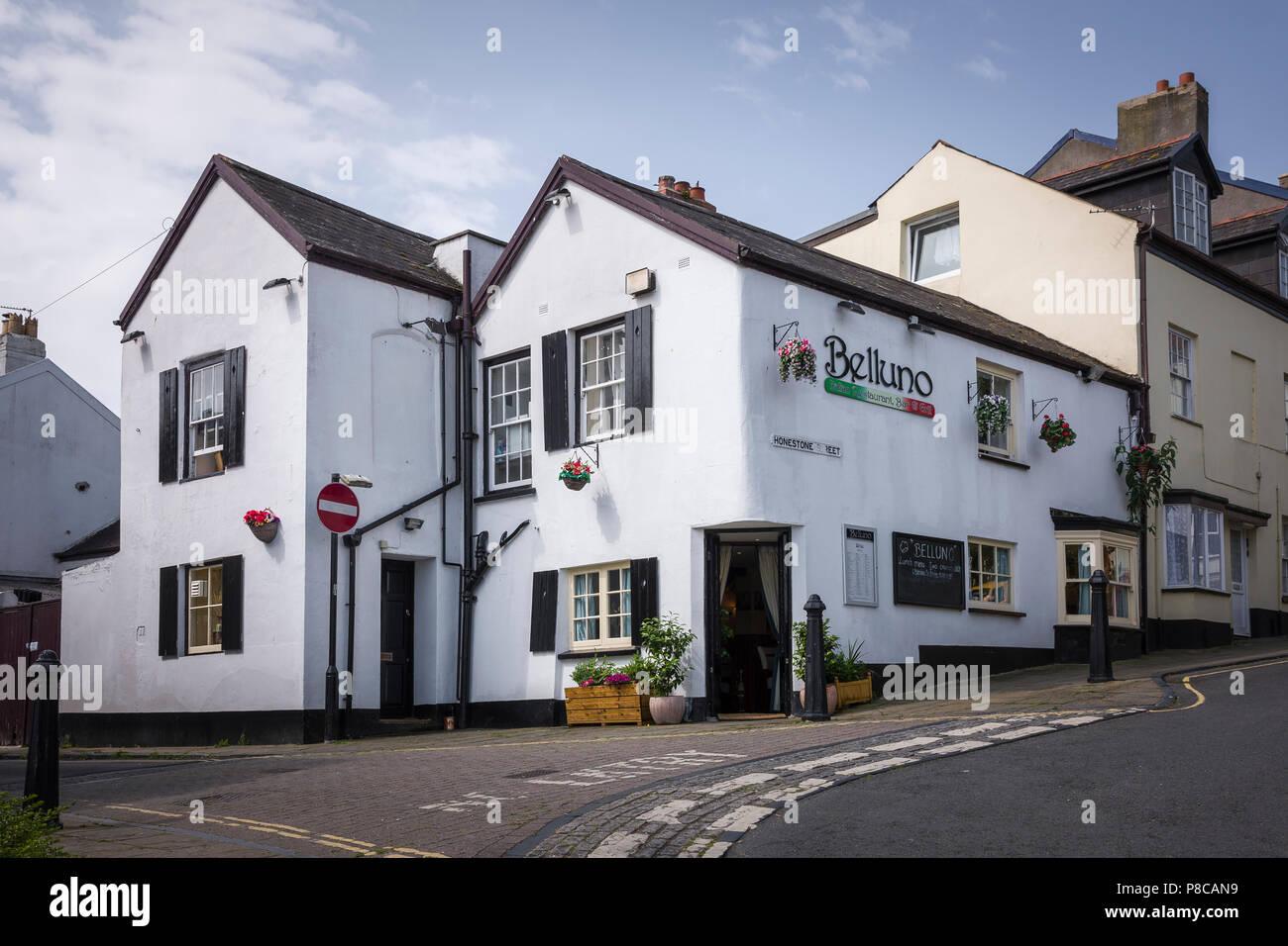 Belluno and Italian restaurant in the old part of Bideford Devon England UK - Stock Image