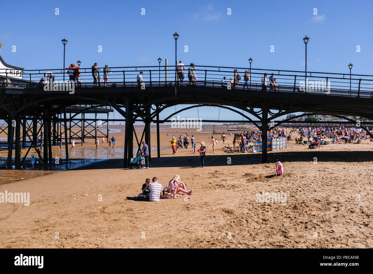 Cleethorpes seafront and pier onn a sunny Armed forces weekend. Cleethorpes England UK - Stock Image