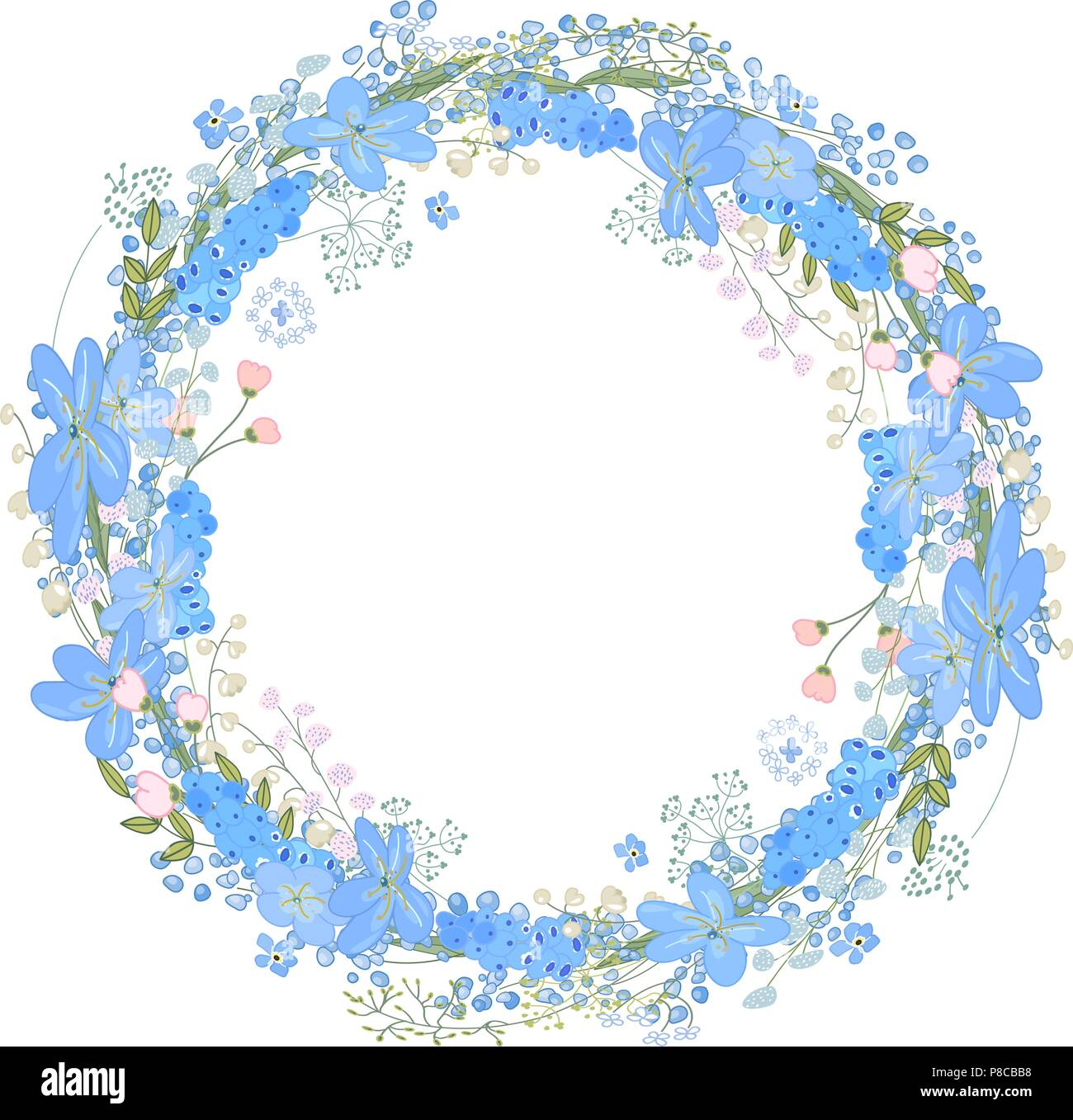 Round Frame With Pretty Flowers Muscari And Text Happy Easter