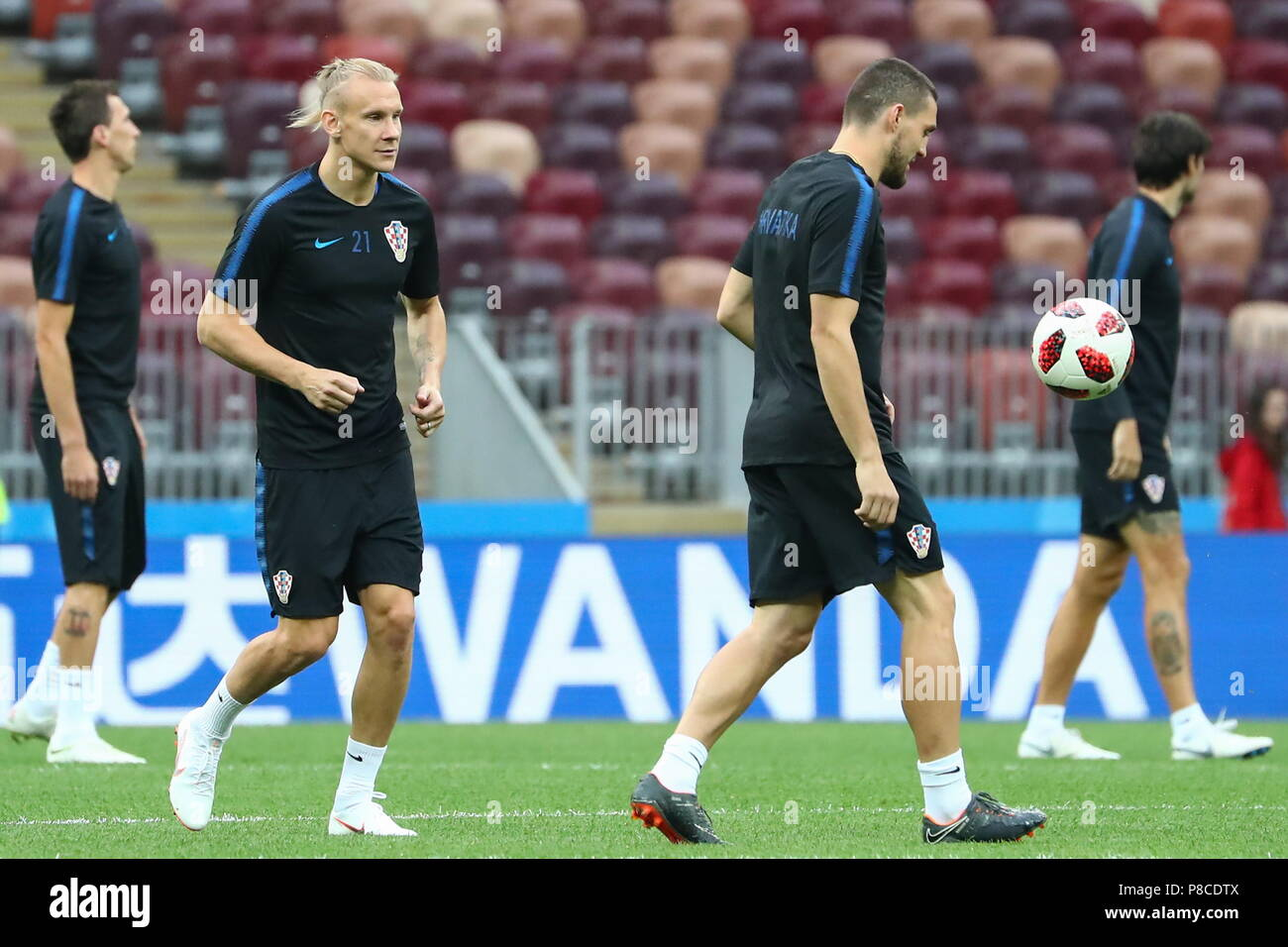 Moscow, Russia. 10th July, 2018. MOSCOW, RUSSIA - JULY 10, 2018: Members of the Croatian men's national football team during a training session ahead of the 2018 FIFA World Cup Semi-final match against England, at Luzhniki Stadium. Anton Novoderezhkin/TASS Credit: ITAR-TASS News Agency/Alamy Live News - Stock Image