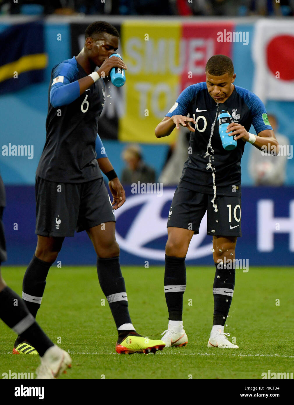 Kylian Mbappe (R) and Paul Pogba of France are seen during the 2018 FIFA  World Cup semi-final match between France and Belgium in Saint Petersburg 1c3324360f351