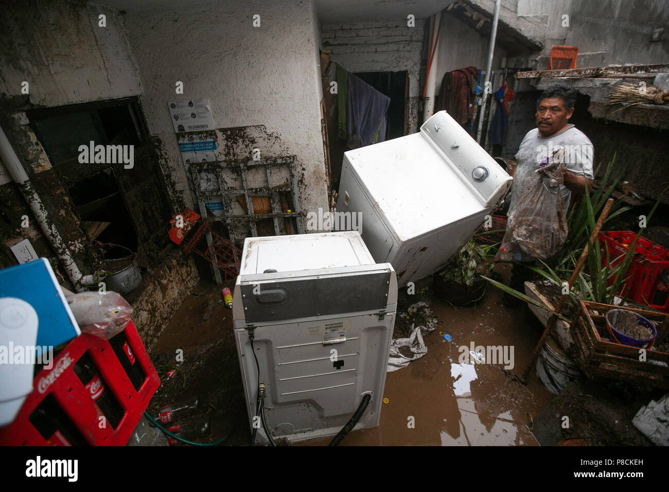 View Of A Destroyed Home After Strong Rains That Affected At Least The Basics Electrical Shocks In Ten Colonies City Morelia State Michoacan Mexico 10 July 2018