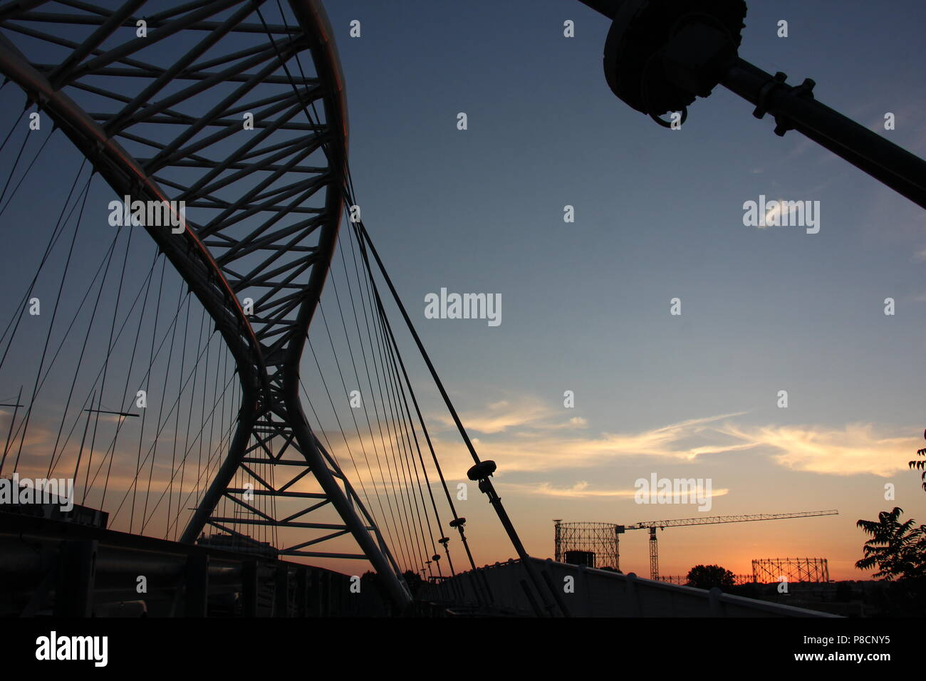 Rome, Italy. 10th July 2018. Beautiful sunset in Rome seen from the Garbatella district and Ponte Settimia Spizzichino bridge Credit: Gari Wyn Williams/Alamy Live News Stock Photo