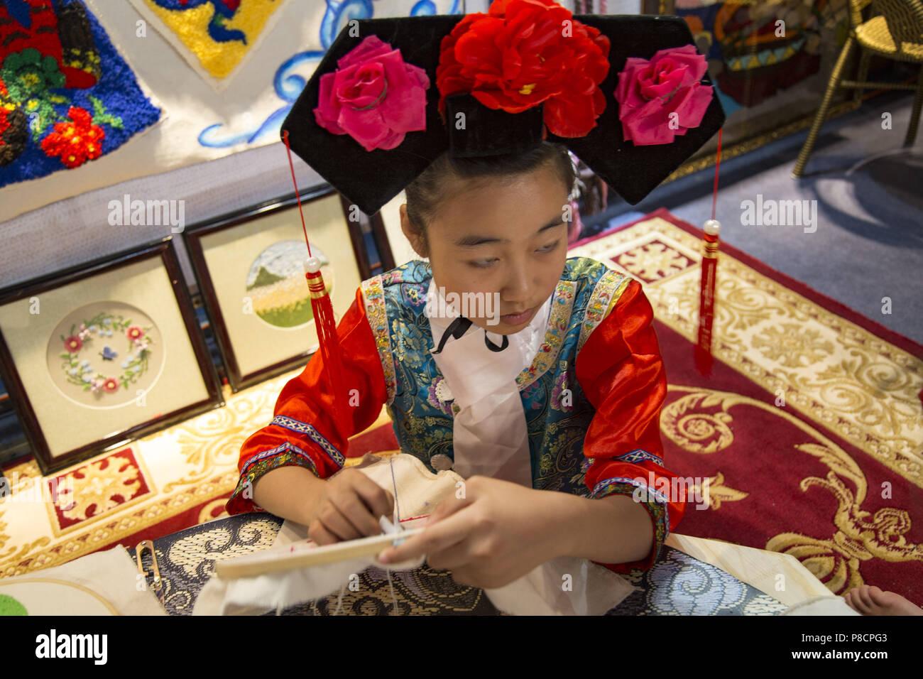 Jili, China. July 11, 2018. The embroidery artworks in northeast China's Jilin Province. Credit: SIPA Asia/ZUMA Wire/Alamy Live News - Stock Image