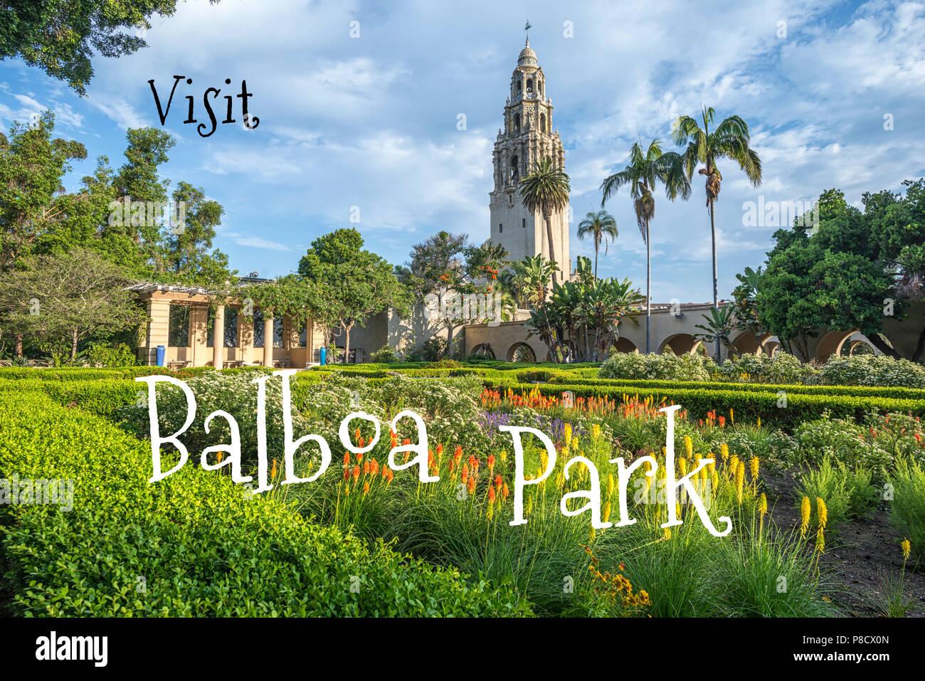 Travel Concept. Photograph of Alcazar Gardens at Balboa Park. San Diego, California, USA Stock Photo
