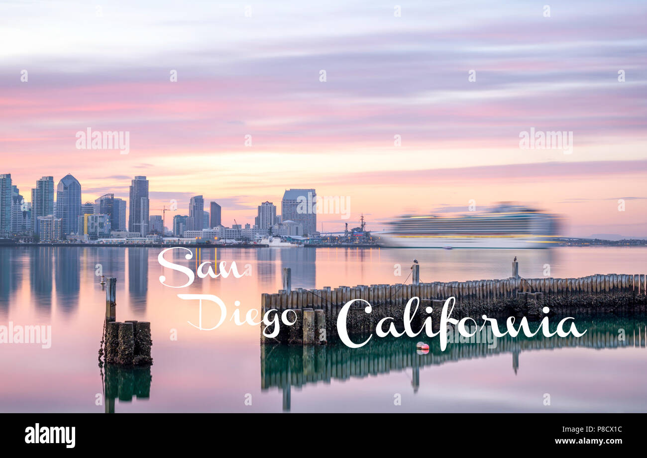 Travel Concept. Photograph of San Diego Harbor and Skyline. San Diego, California, USA Stock Photo