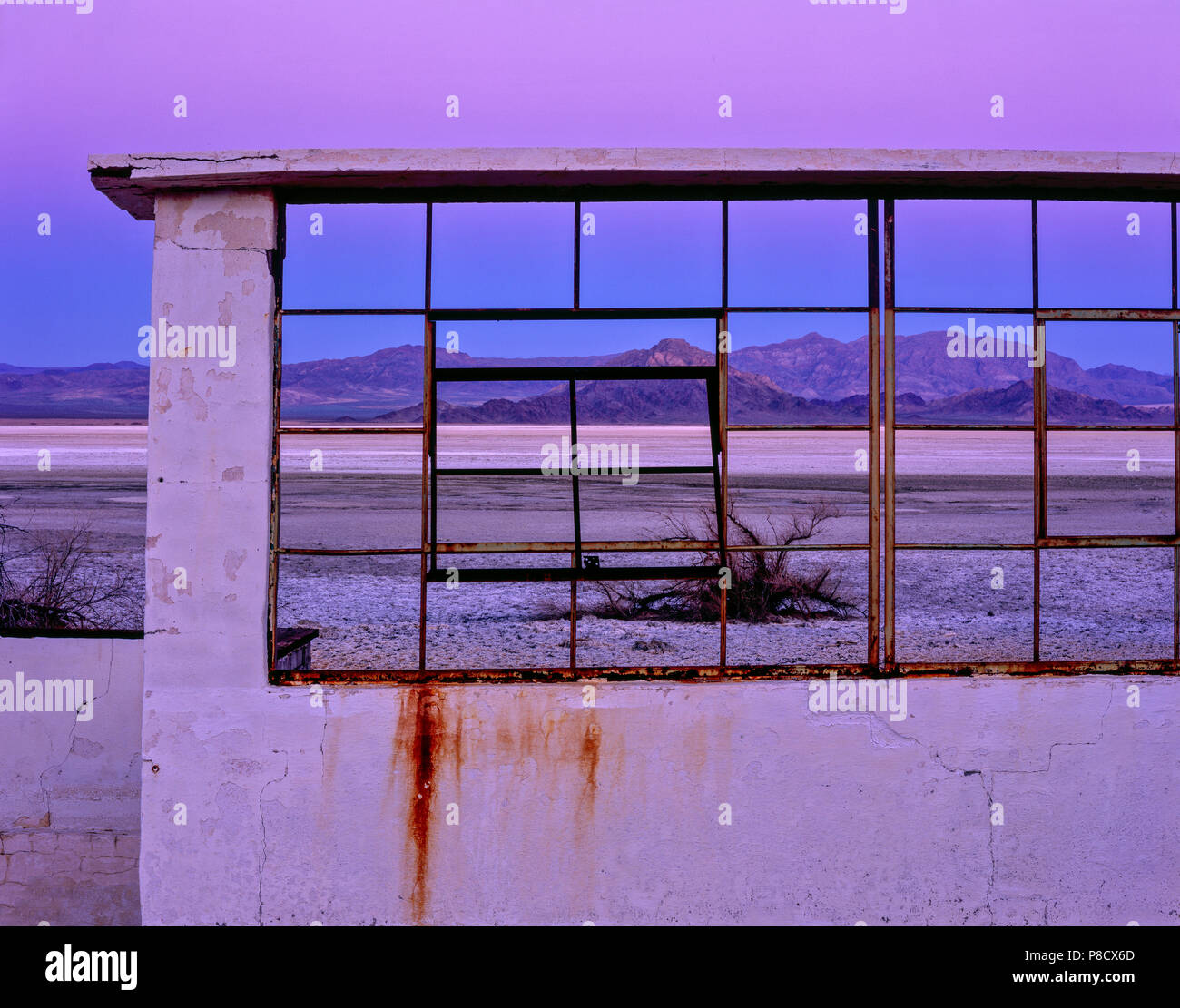 Dawn,Bath Ruins, Zzyzx Mineral Springs, Soda lake, Mojave National Preserve, California Stock Photo