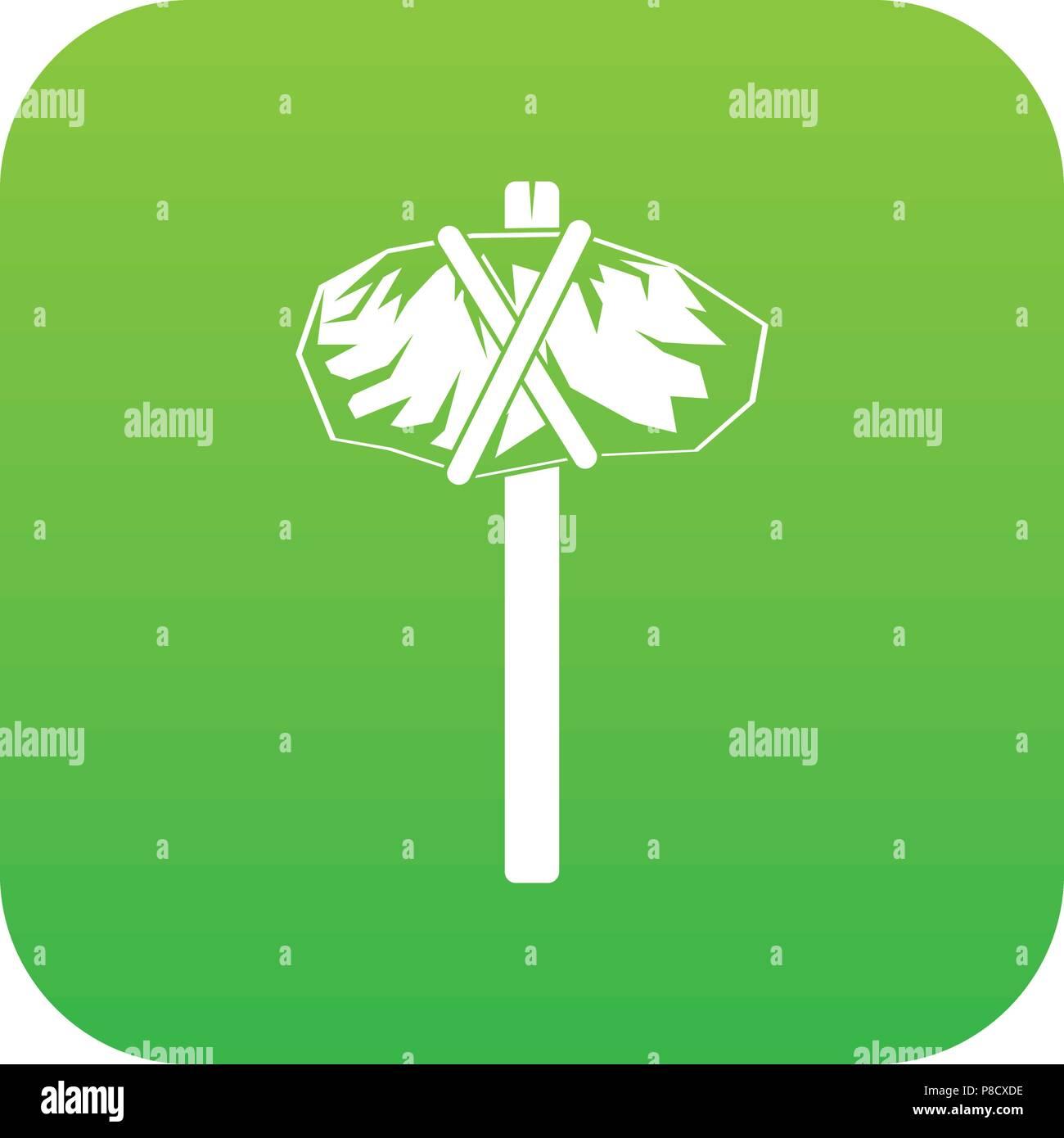 Stone hammer icon green vector - Stock Image