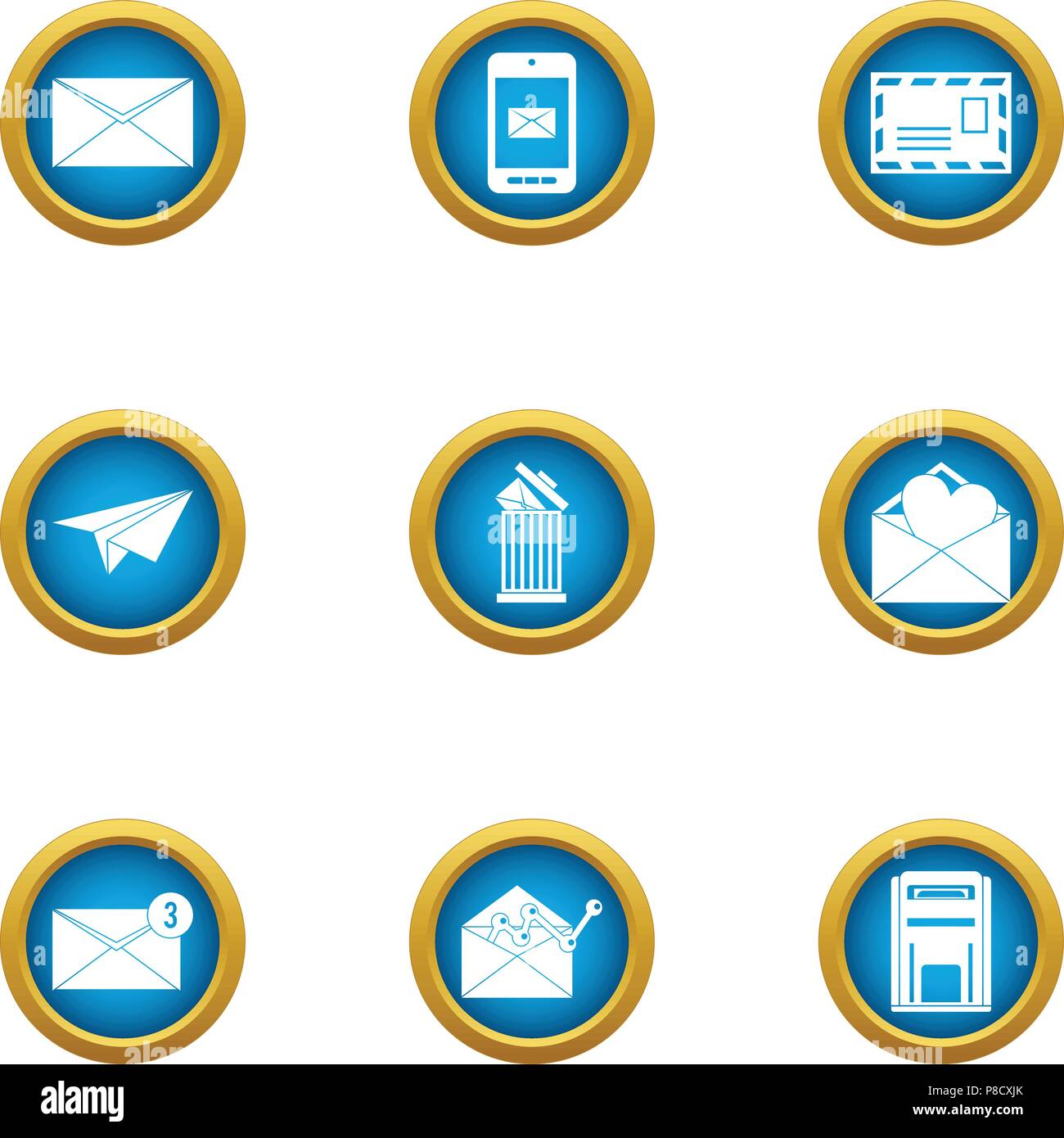Submit icons set, flat style - Stock Vector