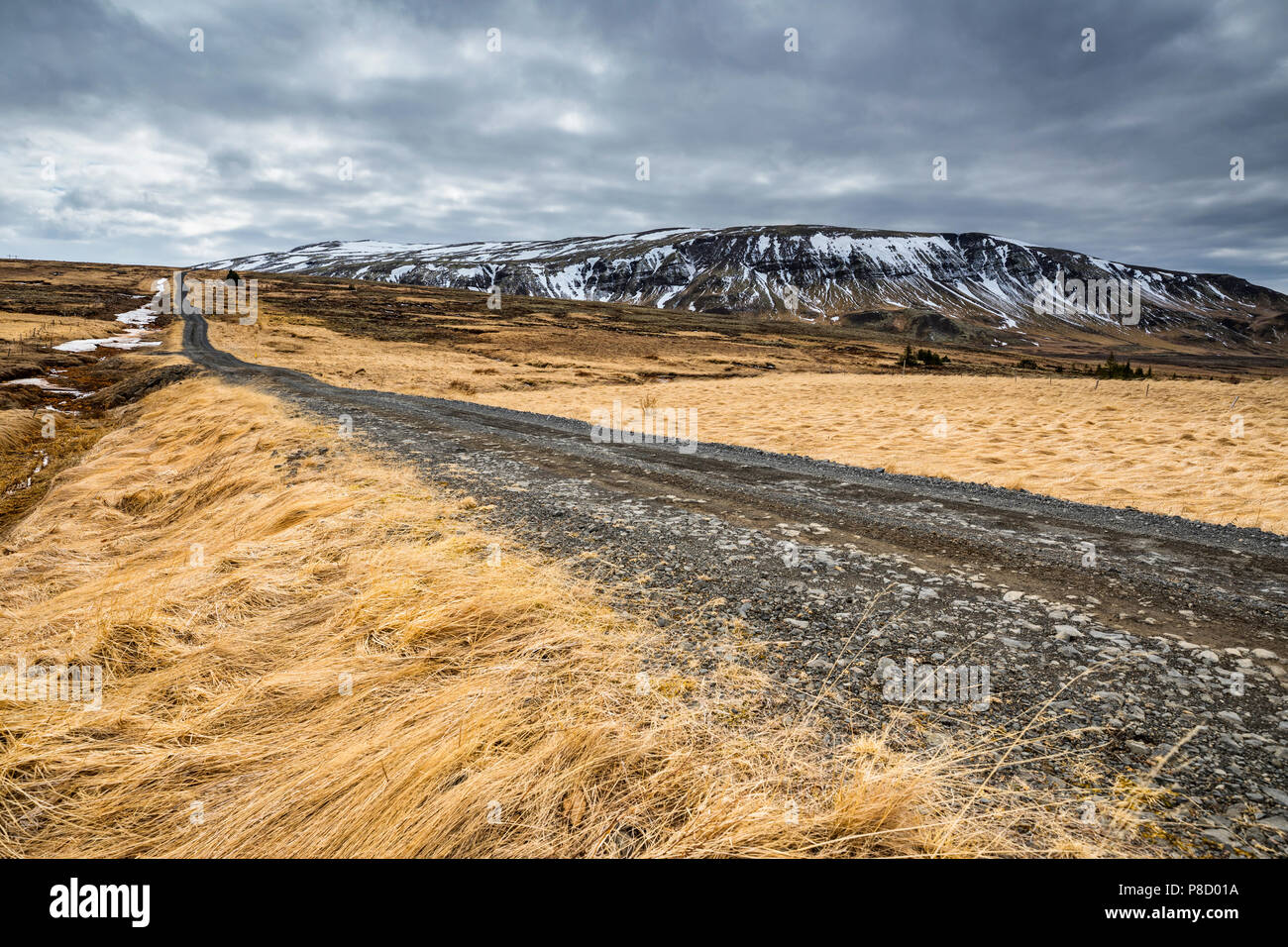 Gravel road in Iceland, near Golden circle, nature landscape - Stock Image