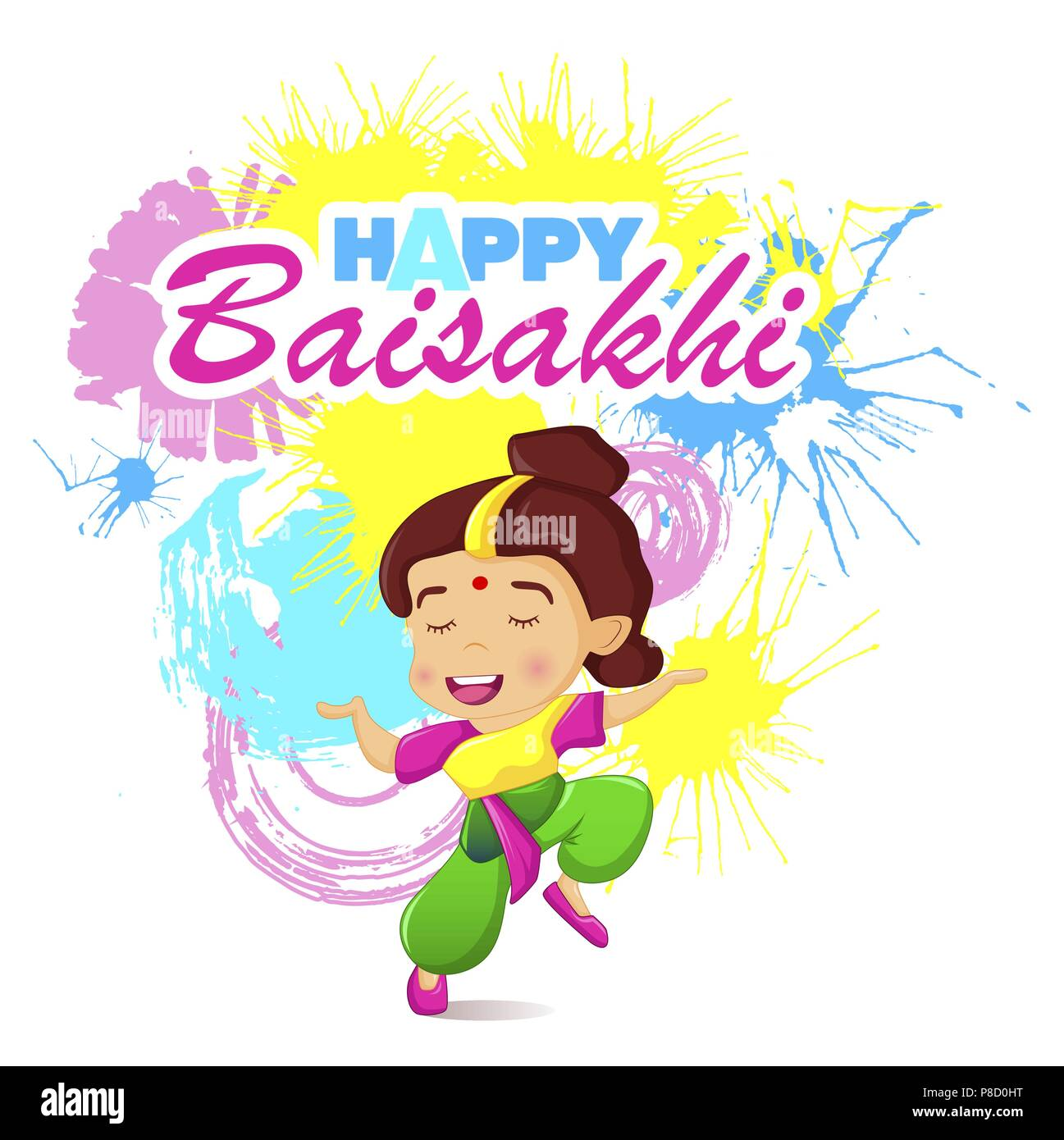 Happy baisakhi woman concept banner, cartoon style - Stock Vector