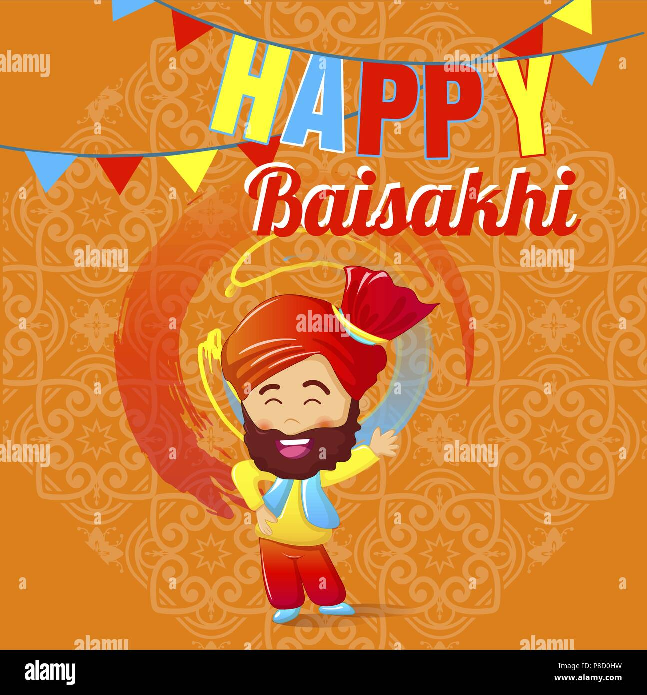 Happy baisakhi man concept banner, cartoon style - Stock Vector