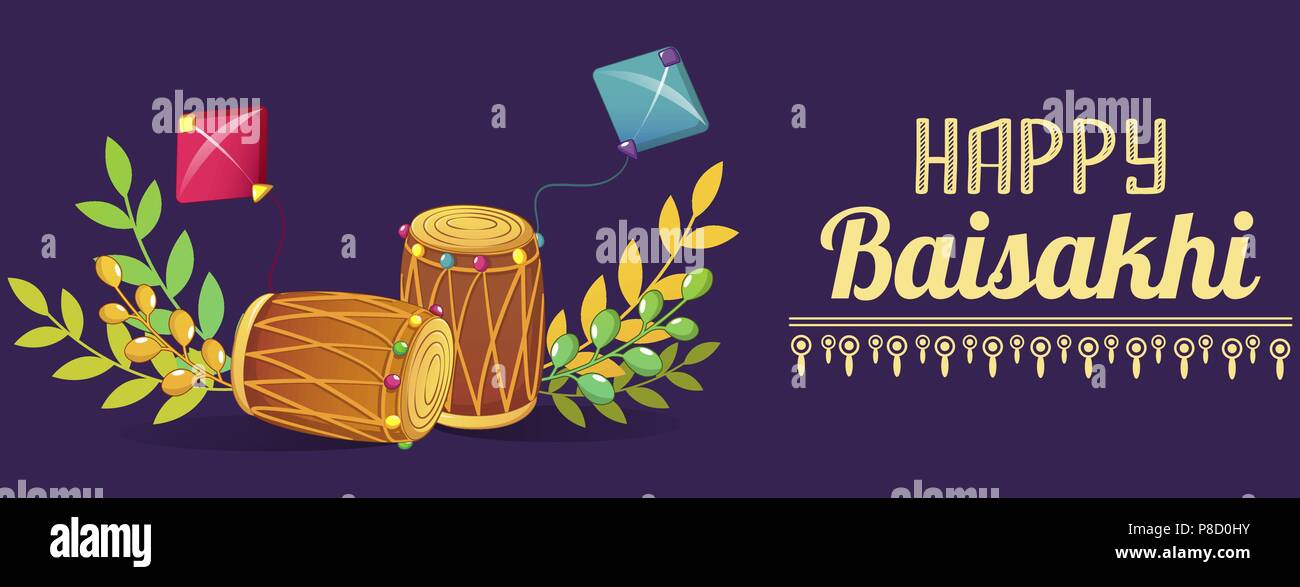 Happy baisakhi drums concept banner, cartoon style - Stock Vector