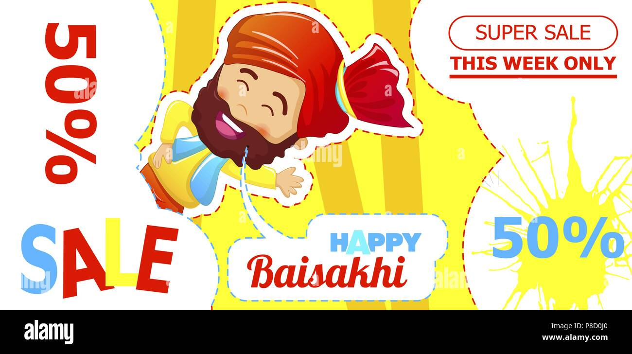 Happy baisakhi sale concept banner, cartoon style - Stock Vector