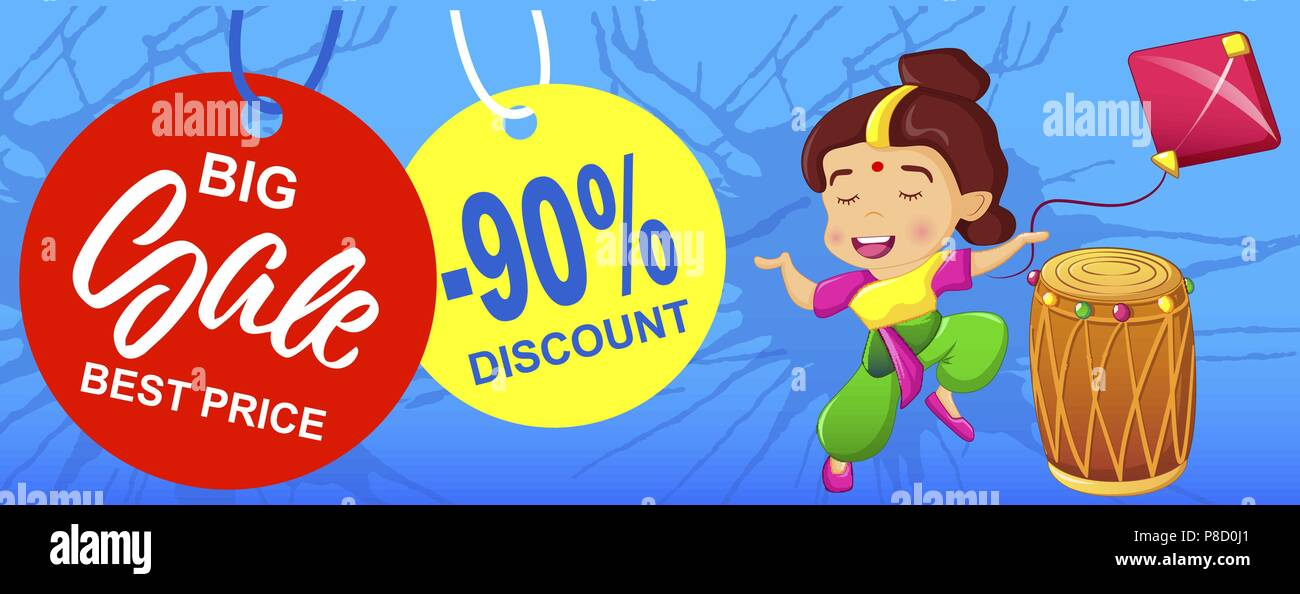 Happy baisakhi big sale concept banner, cartoon style - Stock Vector