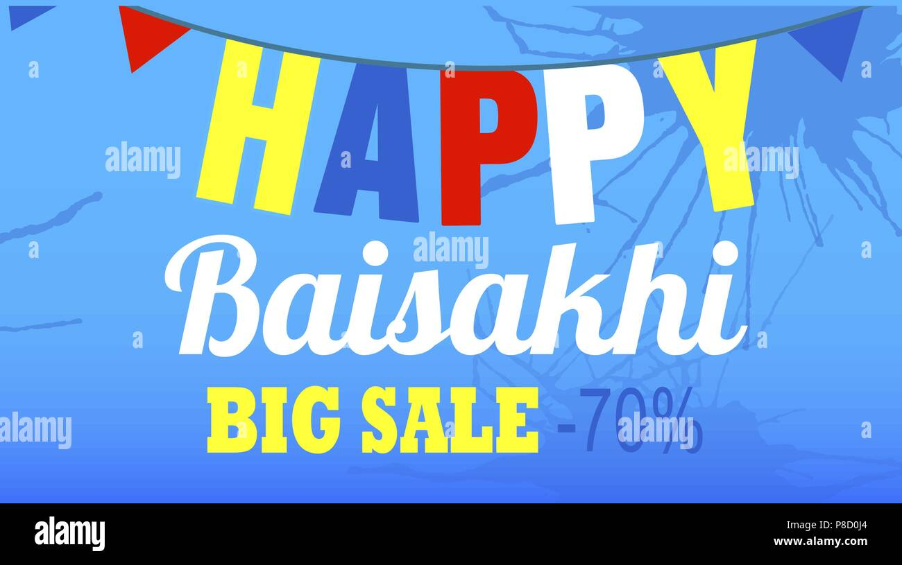 Final sale happy baisakhi concept banner, cartoon style - Stock Vector