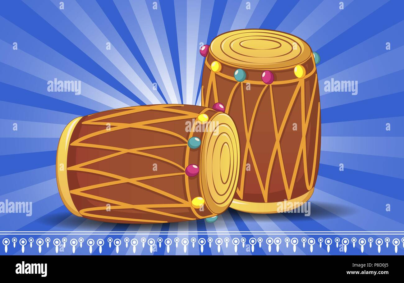Indian drums concept banner, cartoon style - Stock Vector