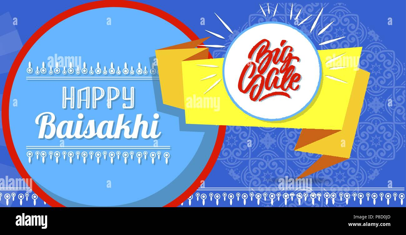 Happy baisakhi new sale concept banner, cartoon style - Stock Vector