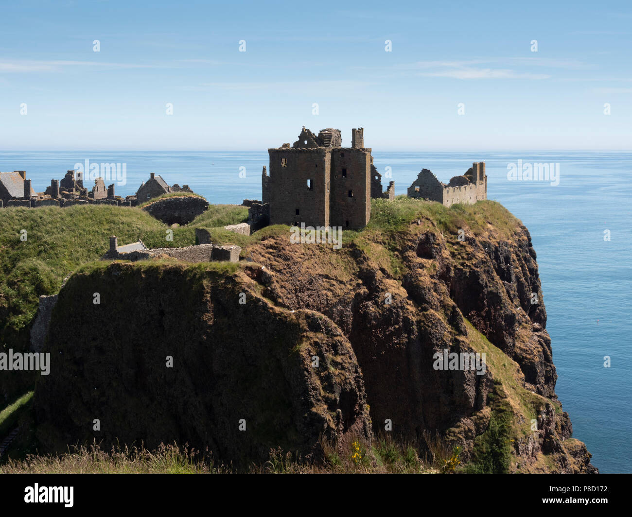 Dunottar Castle, Stonehaven, Aberdeenshire - one of Scotland's most identifiable strongholds, built in the 15th and 1y6th centuries. Stock Photo