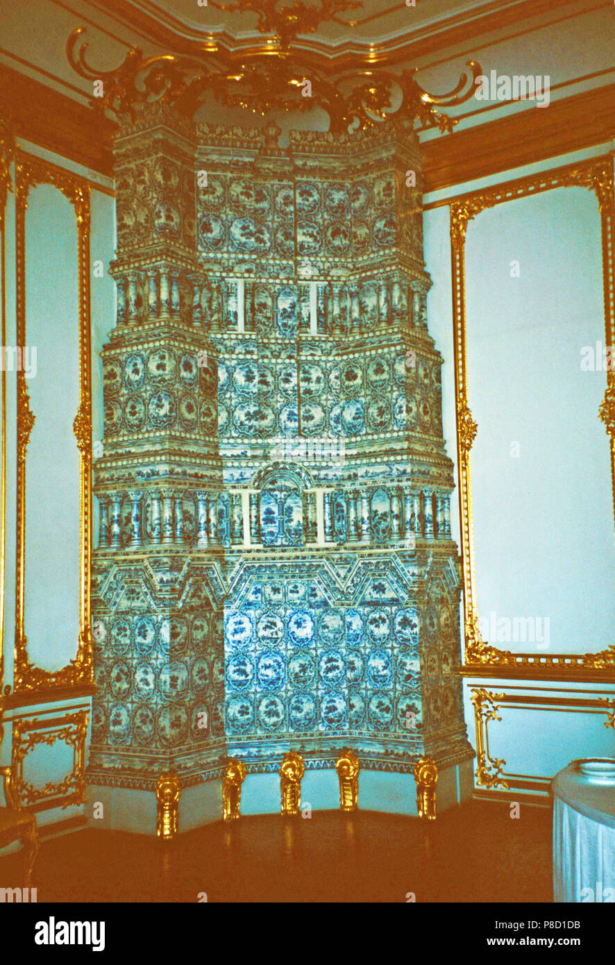 Porcelain tiled stove,Catherine Palace,Tsarkoe Selo,Russia - Stock Image