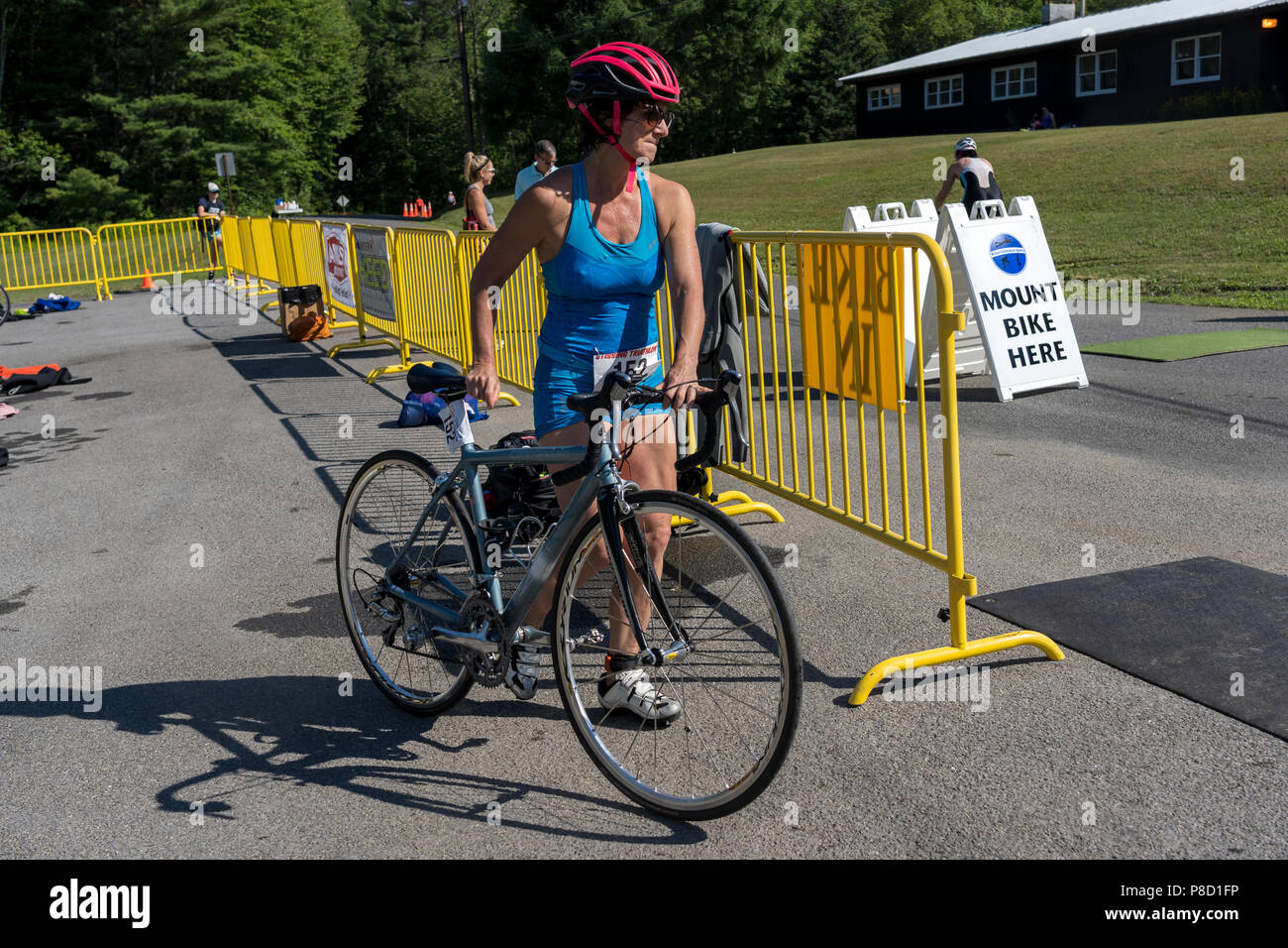 Melissa Anne Landau competiting in the bike segment in the 2018 Stissing Triathlon - Stock Image