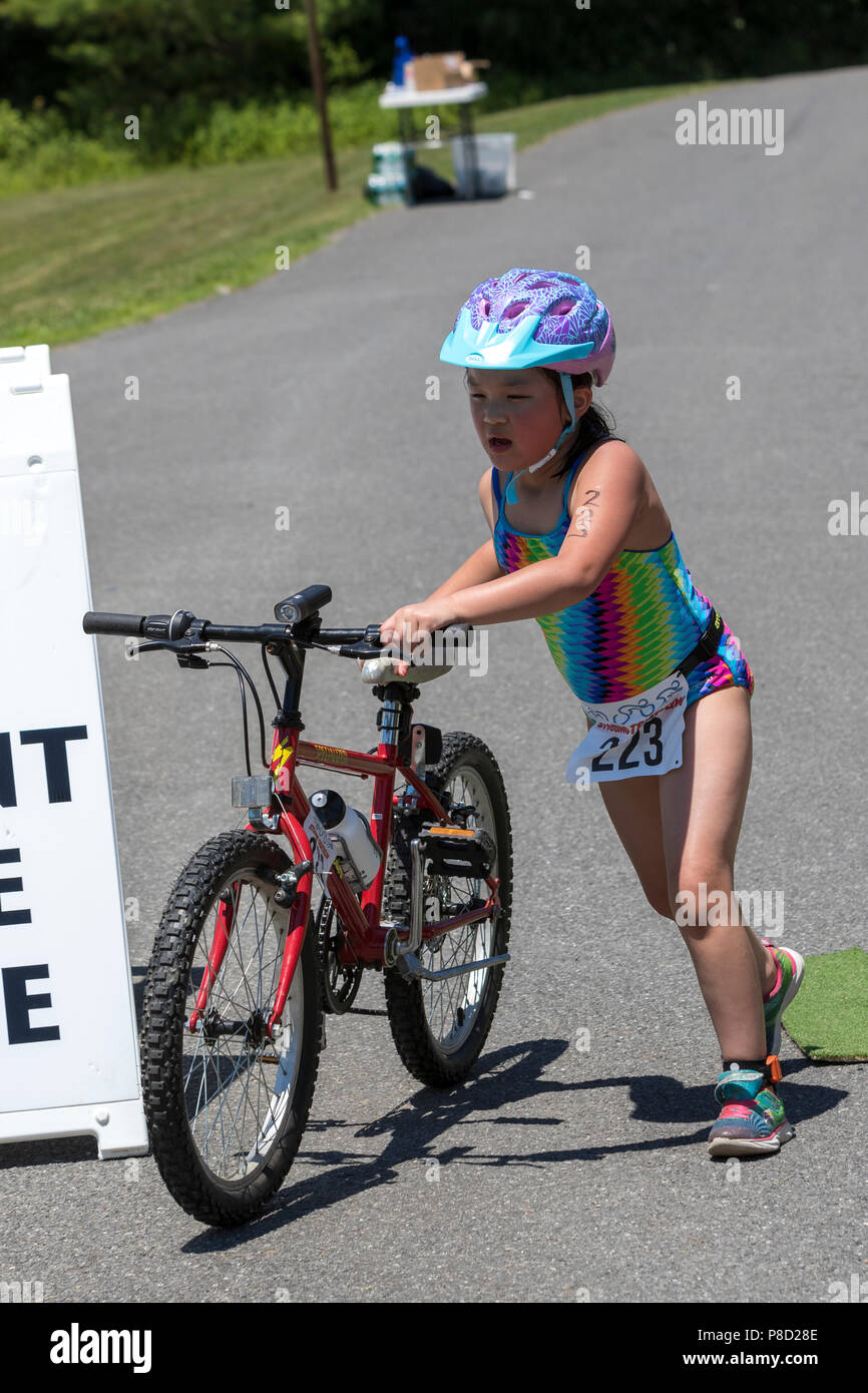 2018 Stissing Kid's Triathlon - Stock Image